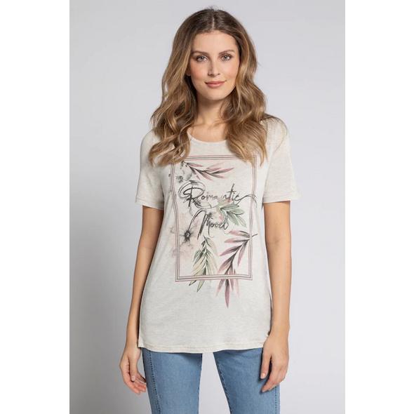 Gina Laura T-Shirt, Blätter, Schriftmotiv, Viskose