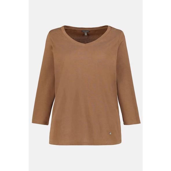 Shirt, gerundeter V-Ausschnitt, 3/4-Arm