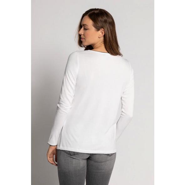 Shirt, Rundhals, Zierstreifen, Saumband, Langarm