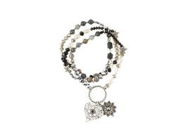 Ulla Popken Armband, Perlenmix, geprägte Dekore, dreireihig - Große Größen