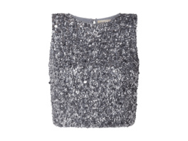 Crop Top aus Mesh mit Pailletten-Applikationen