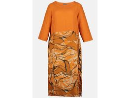 Kleid, Blätterdruck, A-Linie, reines Leinen
